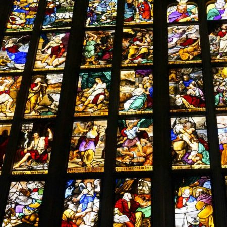 painted windows inside duomo
