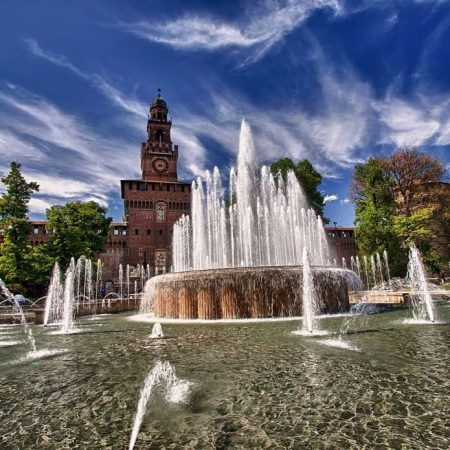 sforza castle in center of milano