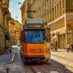 tram in center of milano